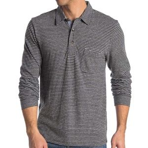 FAHERTY BRAND LUXE HEATHER LONG SLEEVE STRIPE POLO